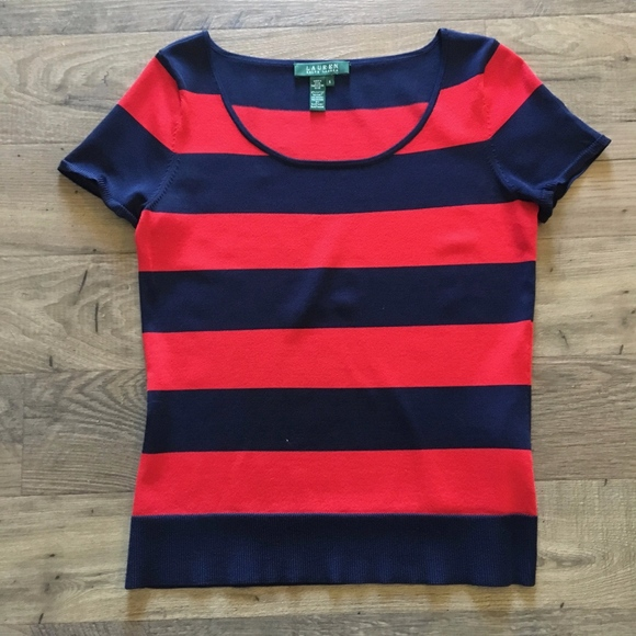 Lauren Ralph Lauren Tops - Lauren Ralph Lauren Red & Navy Blue Striped Top S